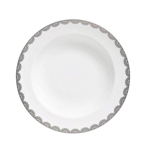 Platinum Rim Soup Plate - Wedgwood Vera Wang Vera Flirt 9-Inch Rim Soup Plate
