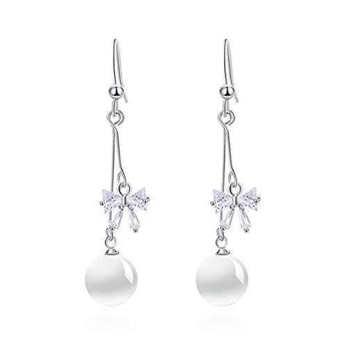 Crystal Earrings, Morenitor Silver Plated Opal Earrings Bow Rhinestone Hook Earrings Christmas Gifts for Women Girls