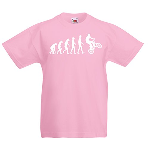 T shirts for kids Human Evolution and Bike - Bicycling – Bicycle accessories, cycling apparel (14-15 years Pink Multi Color)