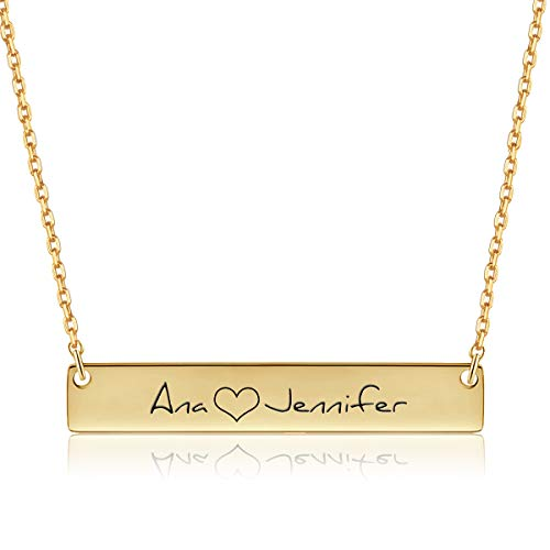 Dreamdecor Custom Bar Necklace for Women,Engravable Pendant Personalized Bar Name Necklace,Horizontal Jewelry Gift