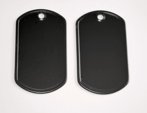 5 Black Stainless Steel Military spec Dog Tags - BLANK