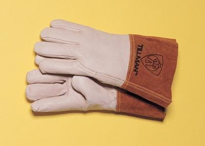 Tillman Medium Pearl Top Grain Cowhide Unlined Standard Grade MIG Welders Gloves With Wing Thumb, 4'' Cuff, Seamless Forefinger And Kevlar® Lock Stitching