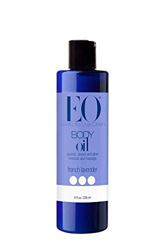 EO Body Oil for Massage & Moisture, French Lavender, 8-Ounce Bottles (Pack of 2)