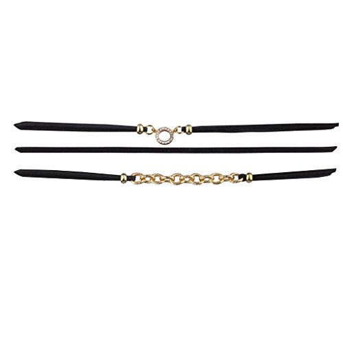 Lux Accessories Black and Goldtone Geo Circle Chain Link Suede Choker Set 3PC ()