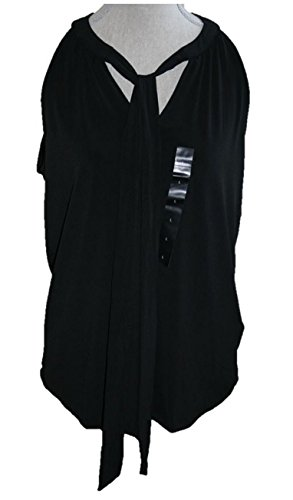 Banana Republic Womens Sleeveless Halter Top w/Tie Front Collar (Large) Black (Banana Republic Sleeveless)