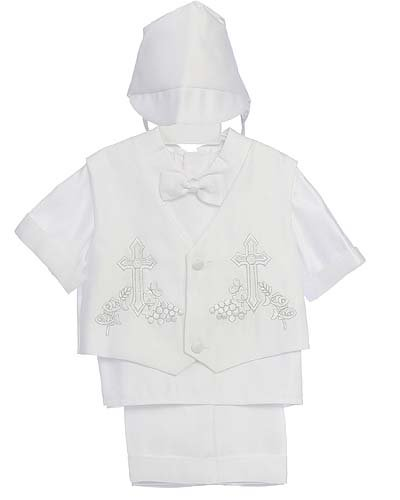 White Christening Baby Boy Short Tuxedo Suit, Special occasion suit