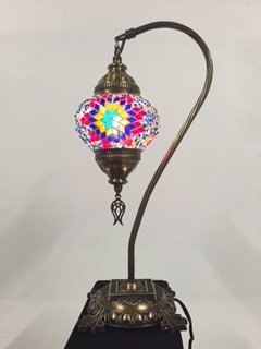 Turkish Moroccan Handmade Swan Neck Mosaic Table Bedside Lamp Lantern Light,Multicolor