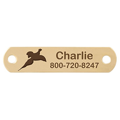Rivet-On Dog Collar Name Plate with Pheasant Flying Design - Brass - Fits 3/4 Inch Wide Collar (Design Pheasant)
