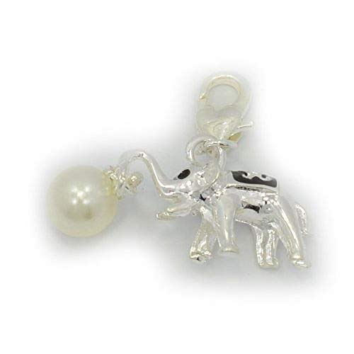 PJewelry Elephant Carrying Synthetic Pearl Clip-on Dangling Charm with Heart Clasp for Chain Link Charm Bracelet