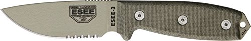- ESEE Knives 3SKODT Part Serrated Model 3 Fixed Blade Knife with OD Green Canvas Micarta Handles