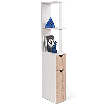 4f40d8313c2743 ProBache - Meuble WC étagère bois gain de place pour toilette 2 portes hêtre