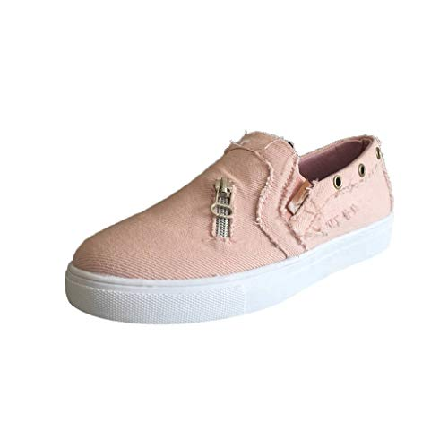 〓COOlCCI〓Women's Low Top Linen Slip on Sneaker Canvas Fashion Athletic Walking Shoes Breathable Sneaker Oxfords Pink