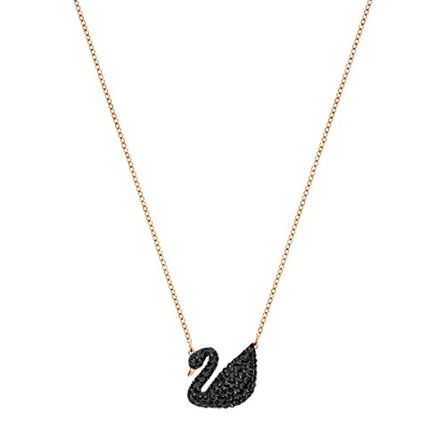 SWAROVSKI Women's Iconic Swan Jewelry Collection, Rose Gold Tone Finish, Black Crystals