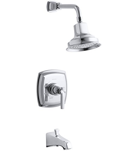 Single Margaux Cp 4 - KOHLER TS16225-4-CP Margaux(R) Rite-Temp(R) bath and shower valve trim with lever handle, NPT spout and 2.5 gpm showerhead