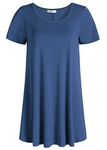 Esenchel Women's Tunic Top Casual T Shirt for Leggings M Ste