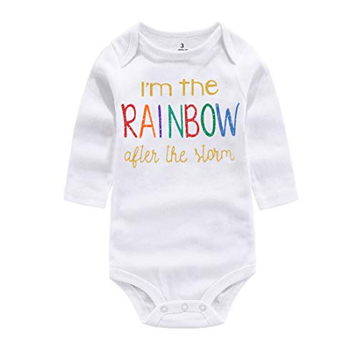 WINZIK Baby Boy Girl One-Piece Bodysuit Outfit Im The Rainbow Print Newborn Infant Romper Jumpsuit T-Shirt Clothing