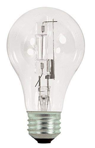 Satco 72A19/HAL/ES/CL/120V 2PK Halogen Type A, 72W E26 A19, 12 Clear Bulbs