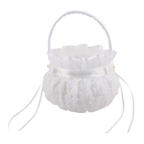 uxcell Satin Wedding Bowknots Rose Decor Petals Storage Flower Girl Carry Basket White by uxcell