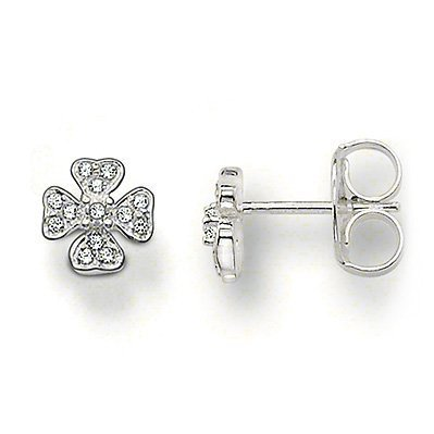 Earrings Thomas Sabo (Thomas Sabo Clover Stud Earrings with White Zirconia)