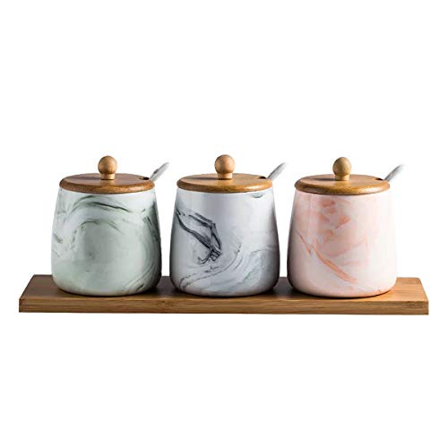 Vencer 3 Pcs Set - Each Jar Volume Approx 380ML 13oz Ceramic Marbling Large Condiment Jar Spice Container with Lids,Serving Spoon and Wooden Tray,Pink & Green & Gray,Mother's Day Gift ()