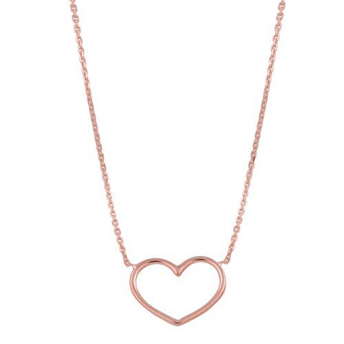 14k Rose Gold Sideways Heart Adjustable Length Necklace (fits 16'' to 18'') by Kooljewelry