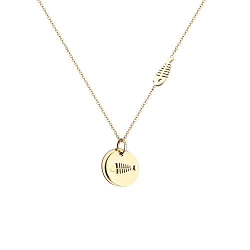 Double Circle Initial Disc Necklace Fish Bone Skull Pendant 14K Gold Small Disc Necklace Name Personalized Necklace