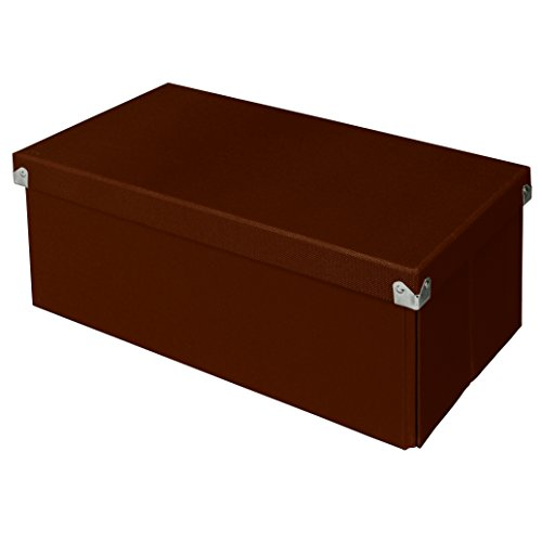 Pop n' Store Decorative Storage Box with Lid - Collapsible and Stackable -  Essential DVD Storage Box - Brown - Interior Size (14.625