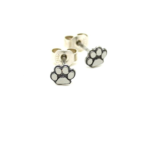 Tiny silver paw stud earrings - sterling silver cats & dogs earrings - tiny studs -paw print earring