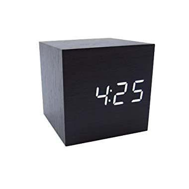 Generic Cube Wood LED Alarm Clock - Time Temperature Date - Sound Control - Latest Generation