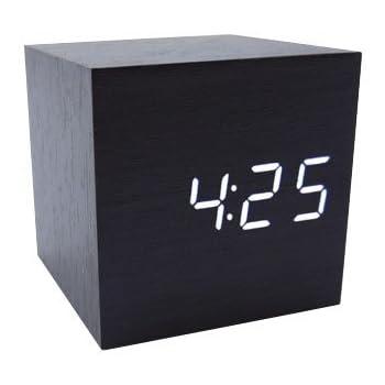 Tzou Cube Wood LED Alarm Clock - Time Temperature Date - Sound Control - Latest Generation
