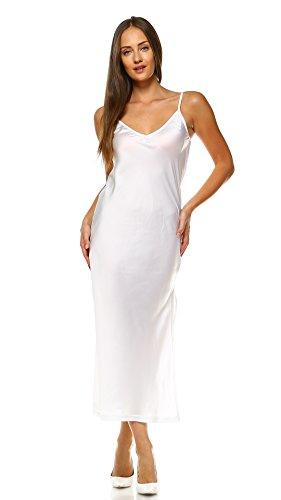 Melody Women V Neck bias Cut Satin Camisole Full Slip Dress (Long Ivory, Large)