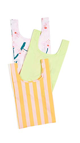 Marigold Stripe - BAGGU Women's Baby Packable Bag Set of 3, Cherry Blossom/Lime/Marigold, Stripe, Floral, One Size