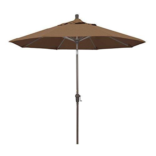 California Umbrella 9' Round Aluminum Market Umbrella, Crank Lift, Auto Tilt, Champagne Pole, Sunbrella (Teak Sunbrella Shade)