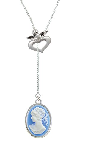 Silvertone Oval - Blue Cameo - Guardian Angel Lariat Necklace, (Angel Oval Cameo Pendant)
