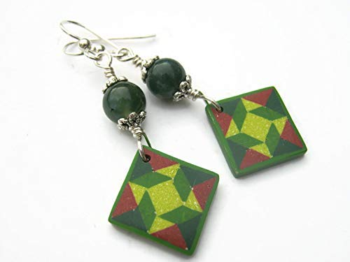 Camo Quilt Block Earrings, Sterling Silver, Moss Agate Quilters Jewelry, Limited Edition Polymer Clay Windblown Star