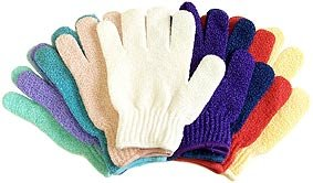 5 Pair Exfoliating Gloves - Bath & Shower Deep Scrub Cloth Gloves - Best Body Hydro Exfoliating Mitt Gloves for Soap & Body Wash - Helps With Skin Firming, Wrinkle, Scar, Cellulite & Stretch Mark Reduction By Removing Dead Skin Cells, Stimulating Circulation & Rejuvenating Skin, Leaving Your Skin Soft & Glowing - For Men & Women