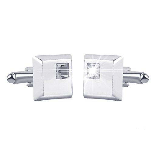 Square Cufflinks Italian - Men Simple Generous Alloy Crystal Square Cufflinks White Business Gift Shirt Accessories