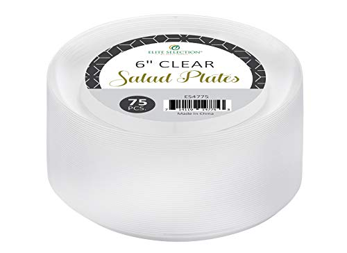 Clear Disposable Plastic Plates Pack Of (75) Elegant Salad/Dessert Plates Wedding - Cake Plates - Party Plates - Fancy Disposable - Catering - Heavy Duty 6 Clear Plates by ELITE SELECTION