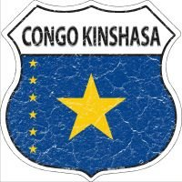 Pride Plates Congo Kinshasa Flag Highway Shield Novelty Metal Magnet HSM-221 ()