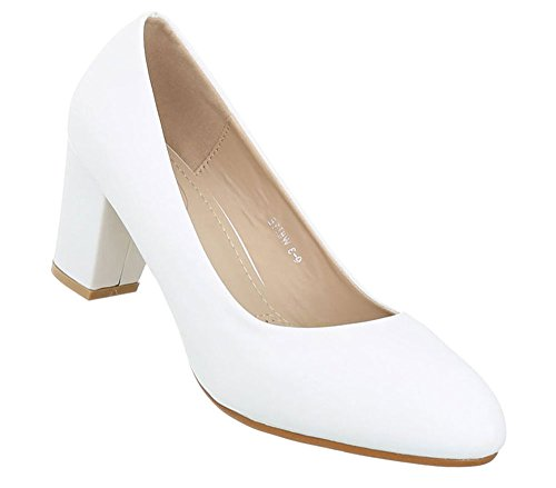 Schuhcity24 Damen Schuhe Pumps Klassische Weiß