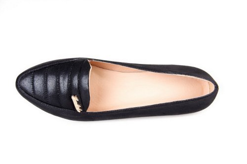 Leather Flat Closed Solid Womans VogueZone009 Pointed Black Patent wxpOTq6X