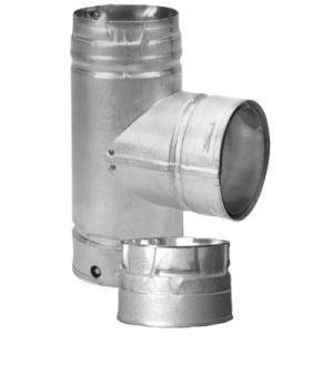 Pellet Stove Vent Tee with Cleanout Tee Cap, 3
