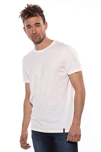 Texere Men's Crew Neck T-Shirt (Komi, Natural White, S) Romantic V-Day Gift