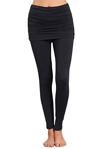 HEYHUN Womens Athleisure Ultra Soft Knit Foldover Ruched Skirted Yoga Leggings - Dark Grey - Large