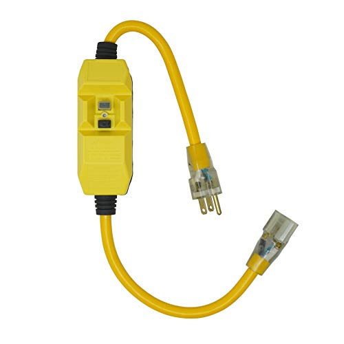 - Woods 2817 Jacket Contractor Grade SJTW Super Flexible Extension Cord With In-Line Gfci And Lightened End, 3 12 Awg, 15 A A, 1-Outlet, Yellow