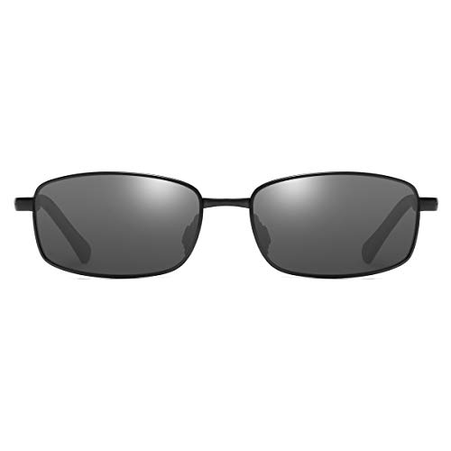 Men's Polarized Sunglasses Rectangular Metal Frame Classic Style Large Size by ZHILE (Black, Grey)