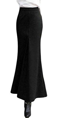 Plaid Leggings Wool (GenericWomen Wool Blend Long Skirt Elegant Bodycon Skinny Mermaid Skirt Black S)