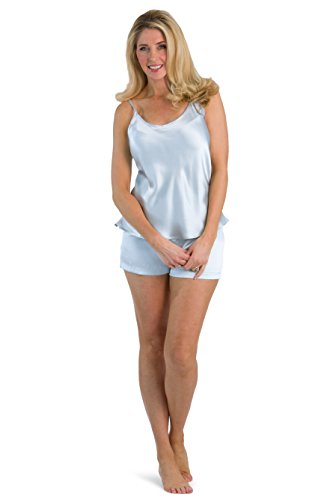 (Fishers Finery Women's 100% Pure Silk Cami Boxer Pajama Set; Sleepwear (Lt Blu, S))