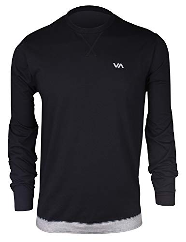 RVCA Men's Runner MESH Long Sleeve Shirt, Black, - Long Sports Runner Sleeve