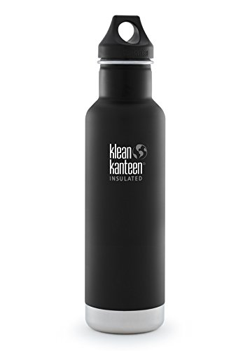 Klean Kanteen 20oz  Classic Vacuum Insulated (w/Loop Cap) Shale Black (Klean Kanteen Water Bottles)